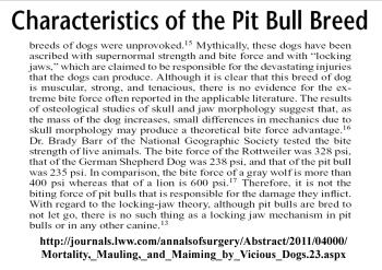 Mortality Characteristics pit bulls don't have lock jaw